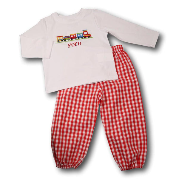 White Knit and Red Windowpane Train Pant Set