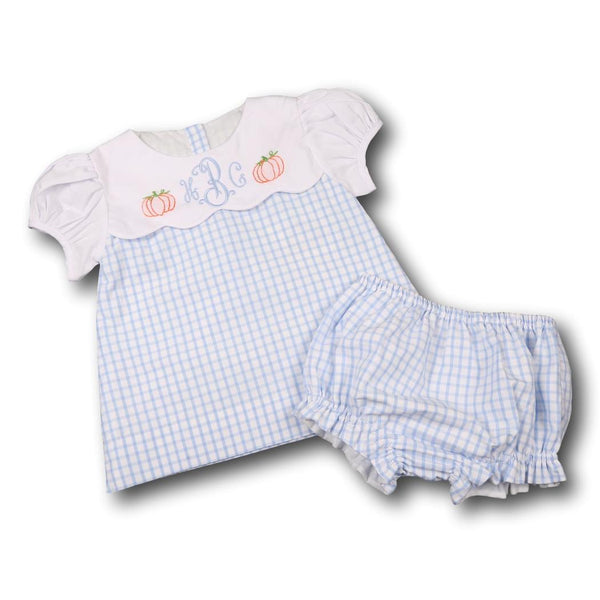 Blue Windowpane Embroidered Pumpkin Diaper Set
