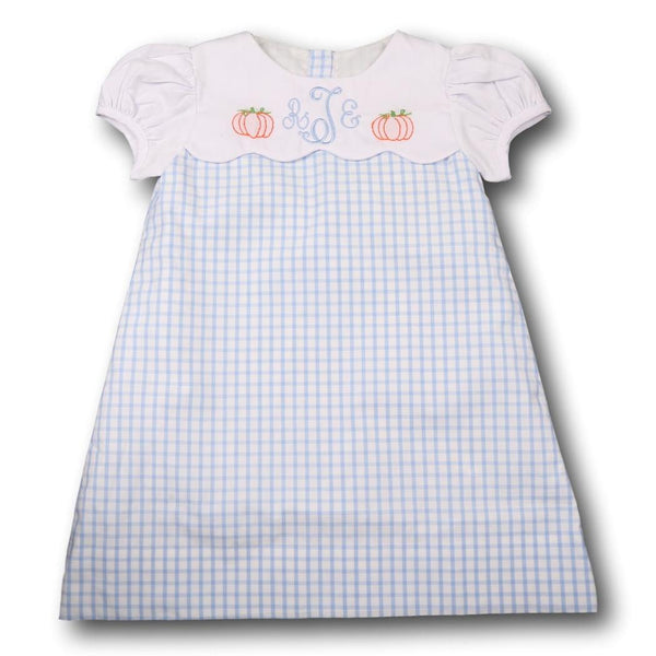 Blue Windowpane Embroidered Pumpkin Dress