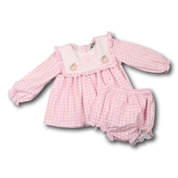 Pink Check Knit Pumpkin Diaper Set