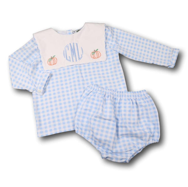 Blue Check Knit Pumpkin Diaper Set