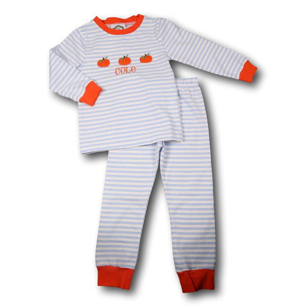 Blue Mini Stripe Pumpkin Pajamas