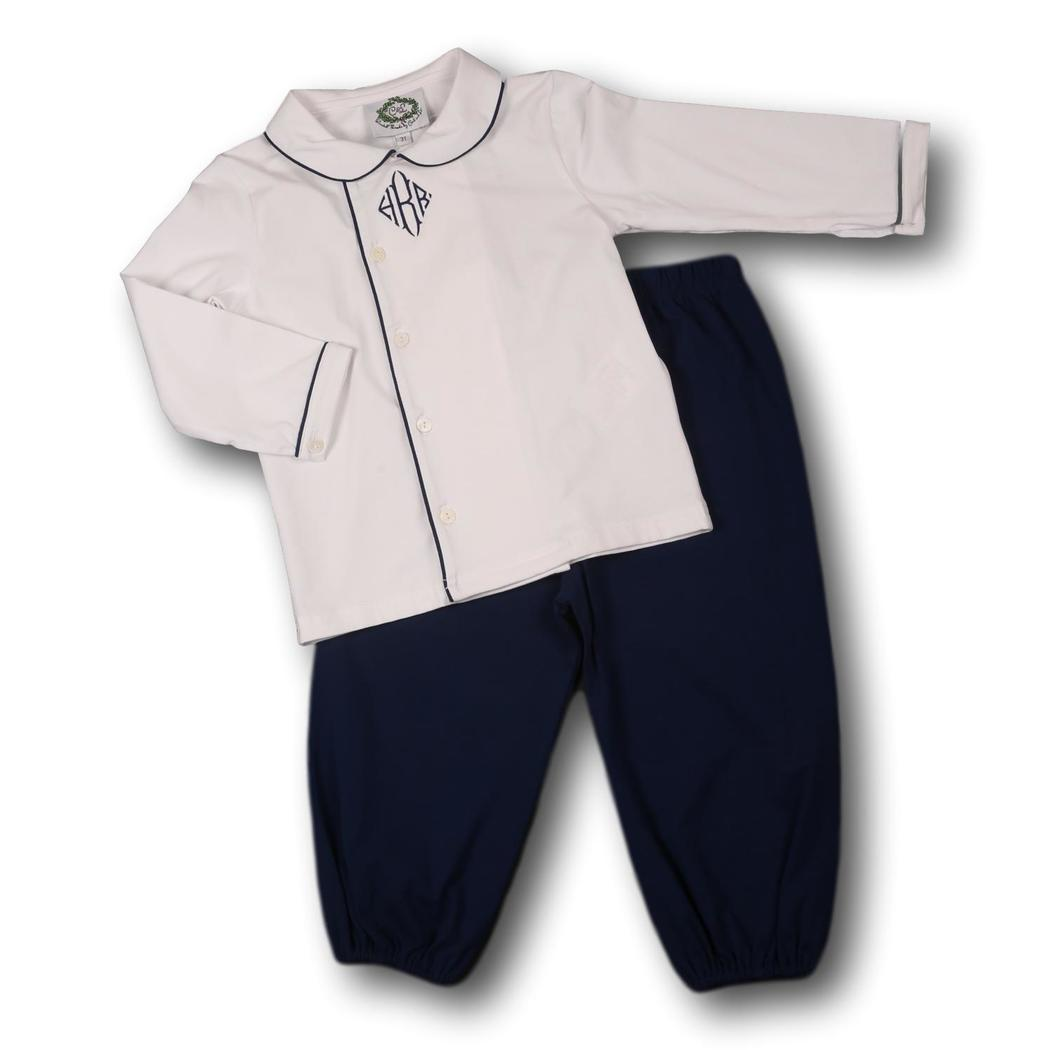 Navy Knit Side Button Pant Set