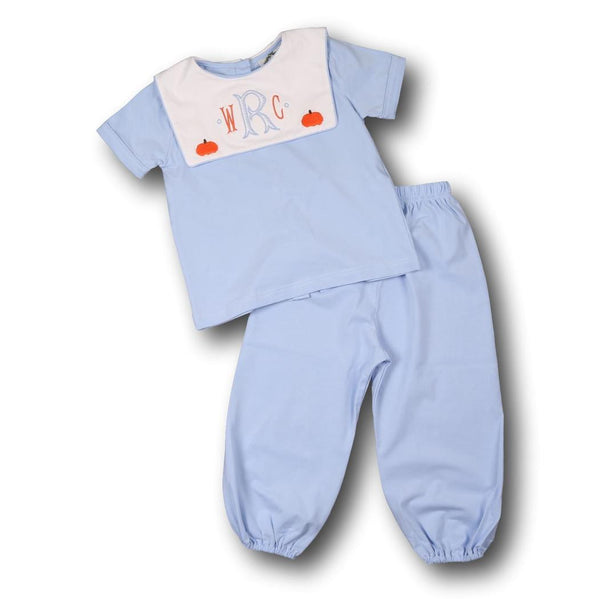 Blue Knit Embroidered Pumpkin Pant Set