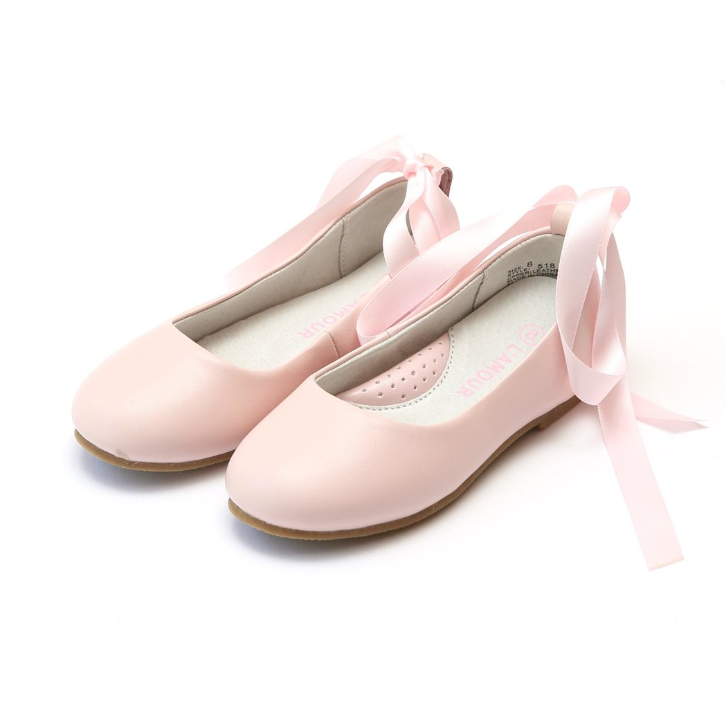 Pink Lace Up Ballet Flat Shoes