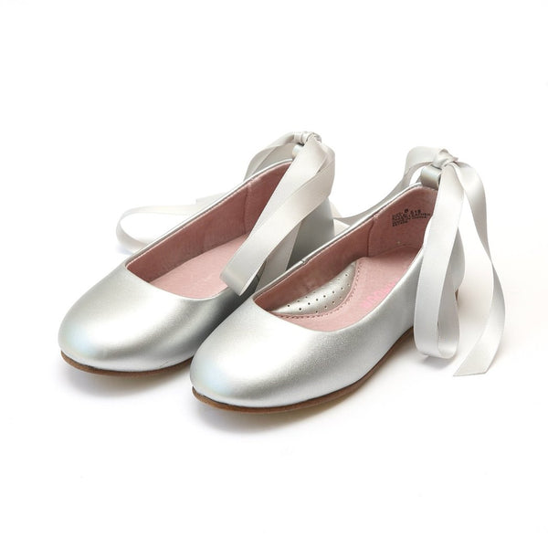 Silver Lace Up Ballet Flat Shoes