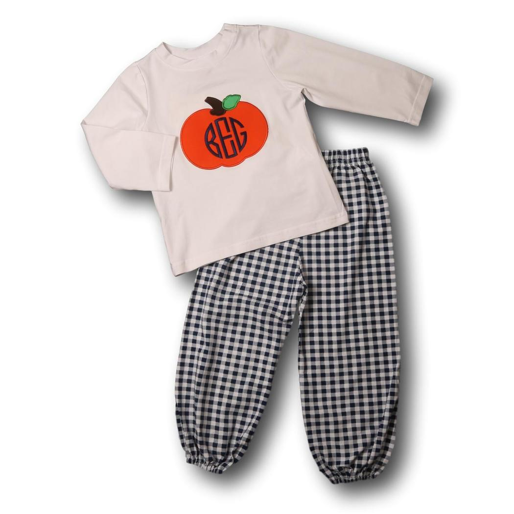 Navy Check Applique Pumpkin Pant Set