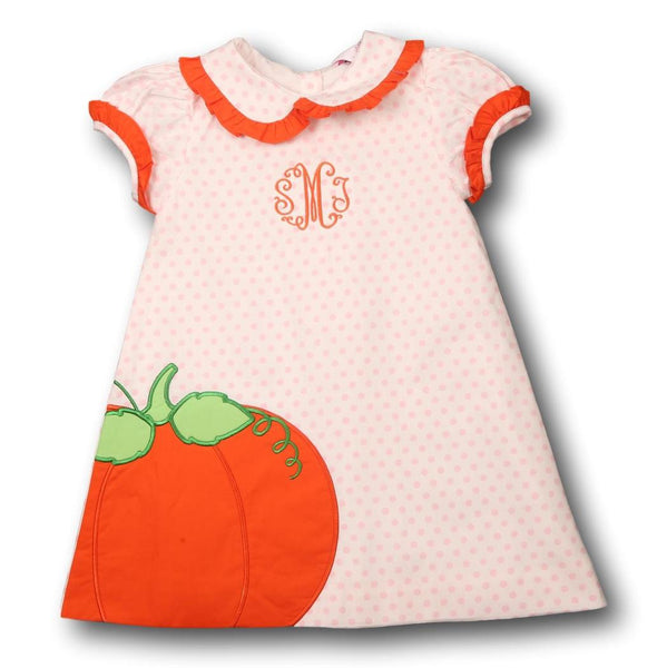 Pink and White Dot Applique Pumpkin Dress