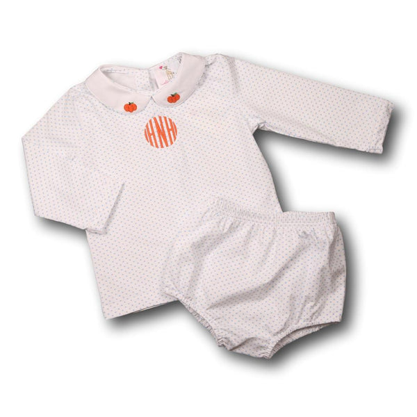 Blue Dot Knit Pumpkin Diaper Set