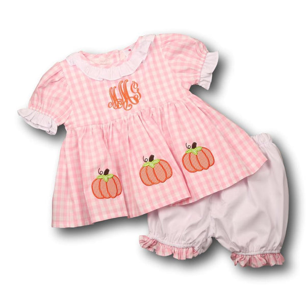 Pink Check Applique Pumpkin Bloomer Set