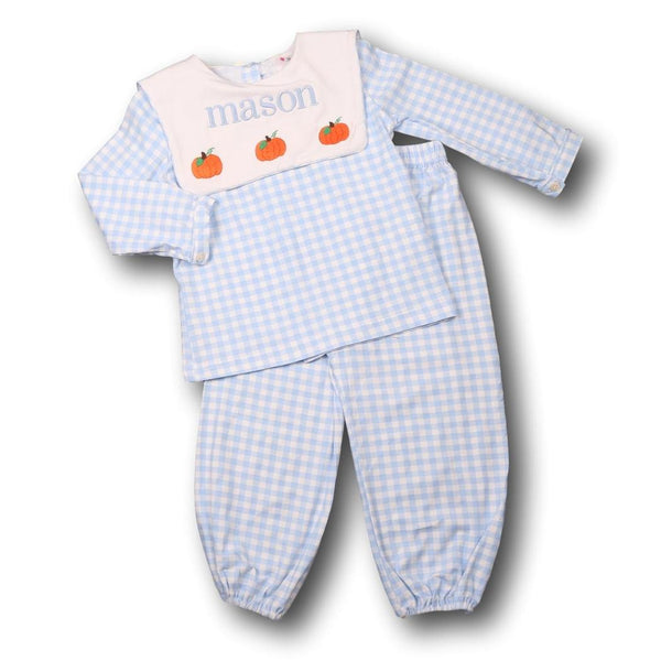Blue Check Knit Pumpkin Pant Set