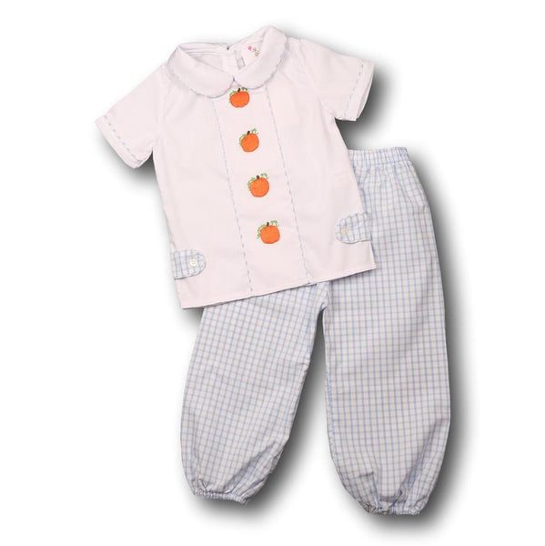 Blue Windowpane Embroidered Pumpkin Pant Set