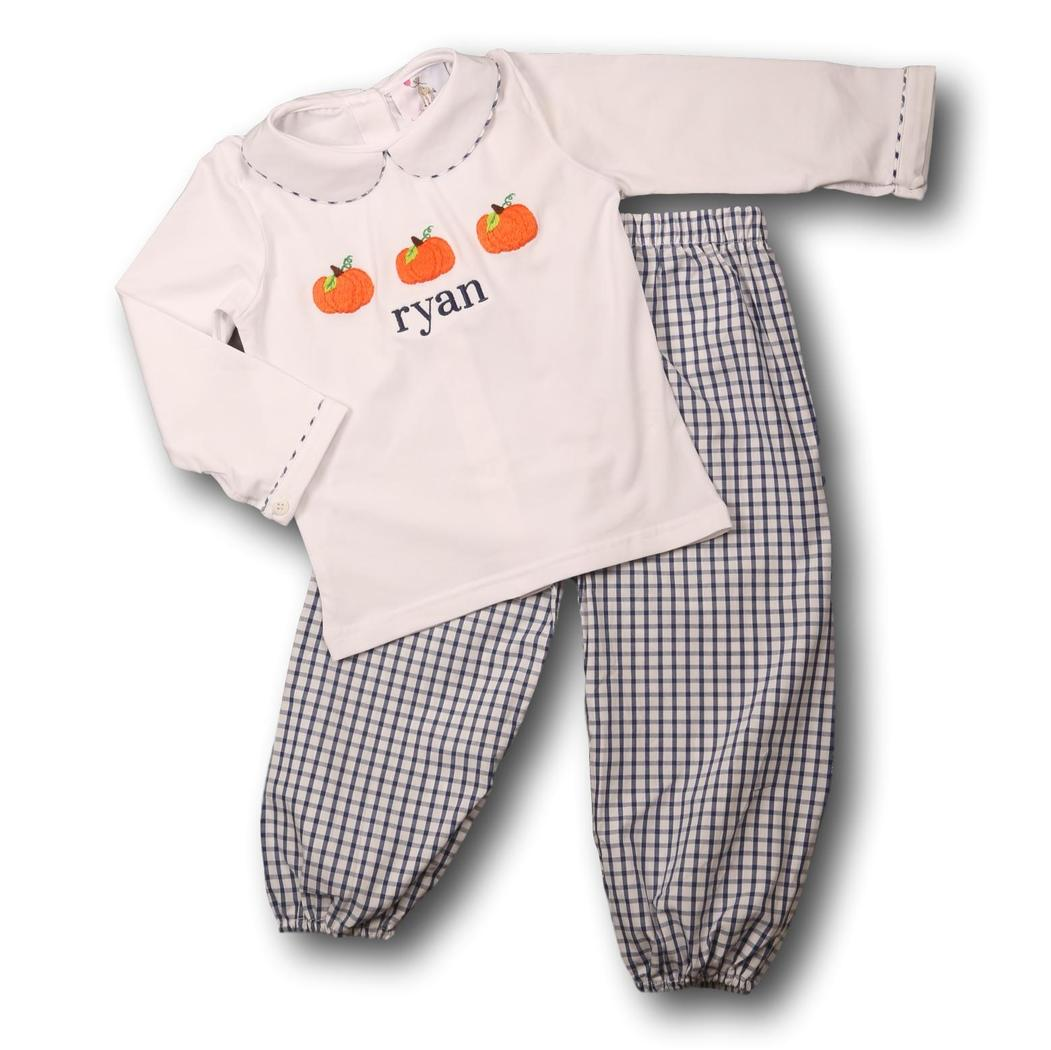 Navy Windowpane Pumpkin Pant Set