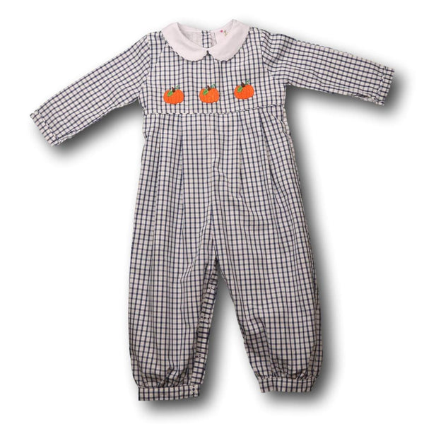 Navy Windowpane Pumpkin Romper