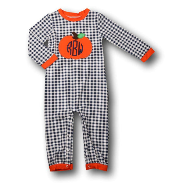 Navy Check Knit Pumpkin Romper