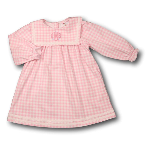 Pink Check Knit Square Collar Dress