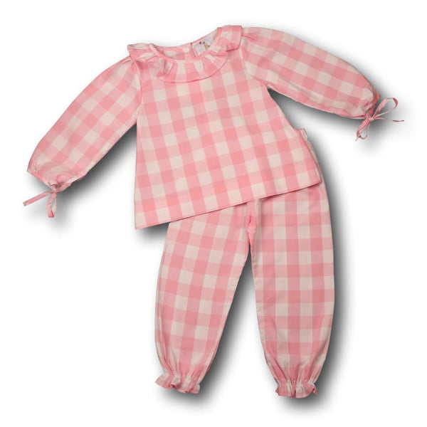 Pink Check Ruffle Pant Set