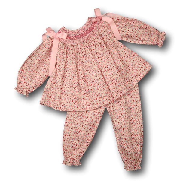 Pink Liberty Smocked Rosette Bow Pant Set