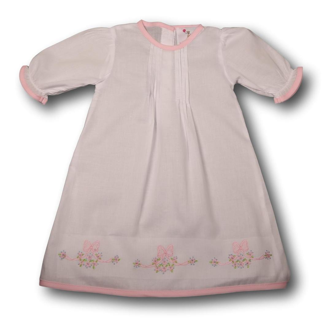 White Knit Embroidered Bow with Flowers Layette