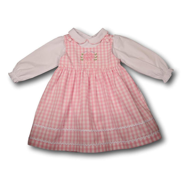 Pink Knit Check Dress with Shirt Included