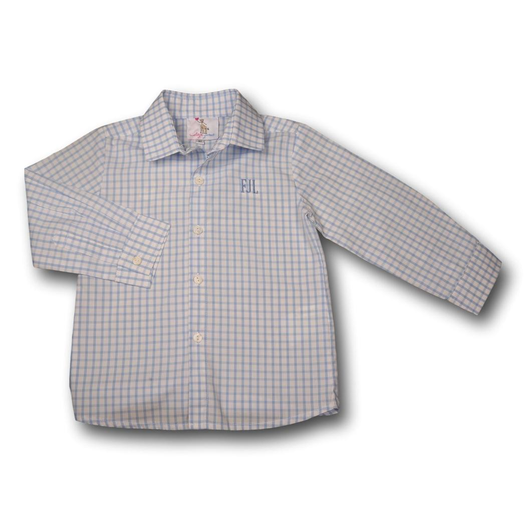 Blue Windowpane Button Down Shirt