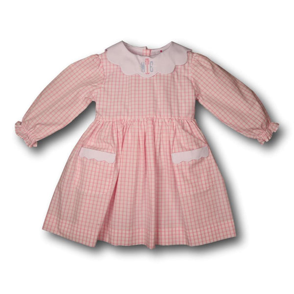Pink Windowpane Dress with Pockets