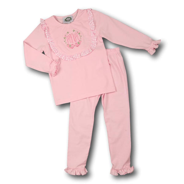 Pink Knit Bib PJ Set