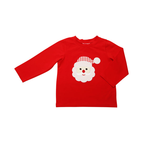 Red Knit Applique Santa Shirt