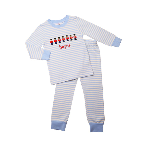 Blue Mini Stripe Knit Toy Soldier Pajamas