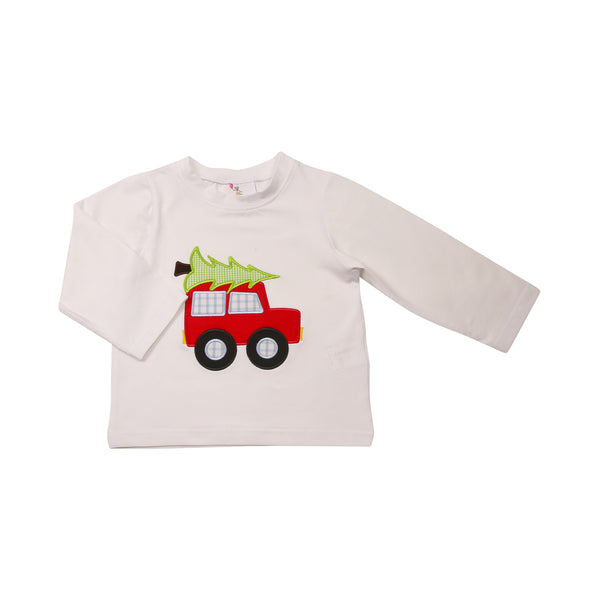 White Knit Applique Car and Tree Shirt