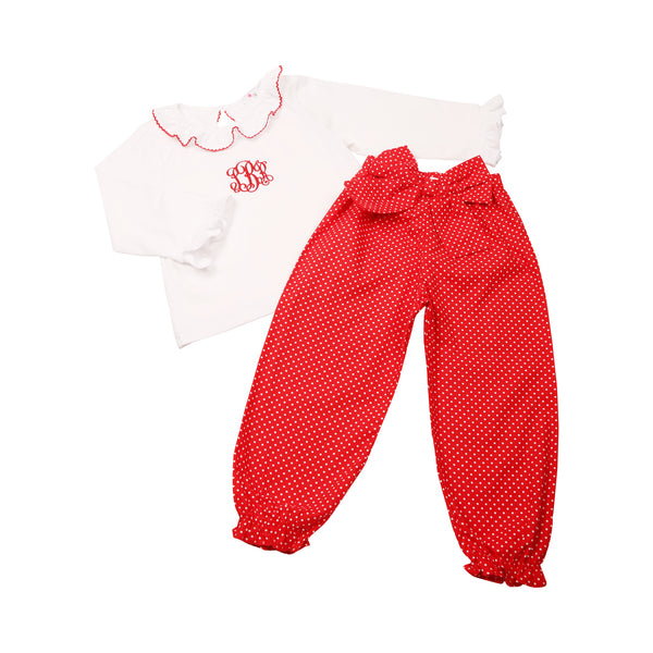Red Mini Dot Pant Set