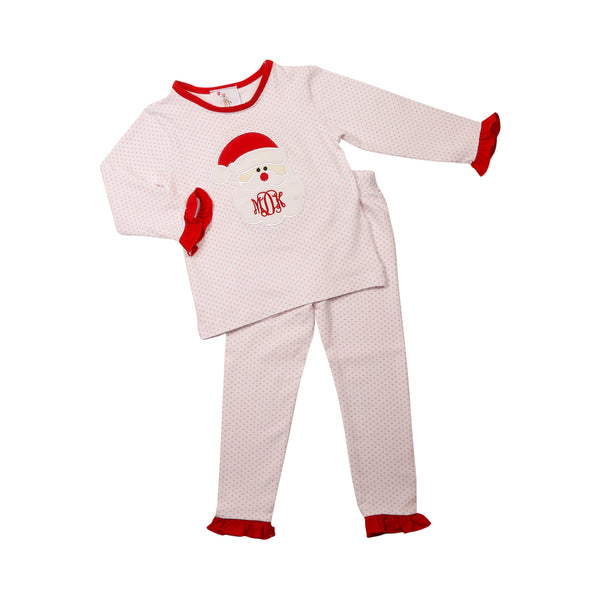 Pink Dot Knit Applique Santa Pajamas