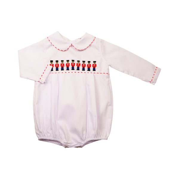 White Pique Embroidered Toy Soldier Bubble