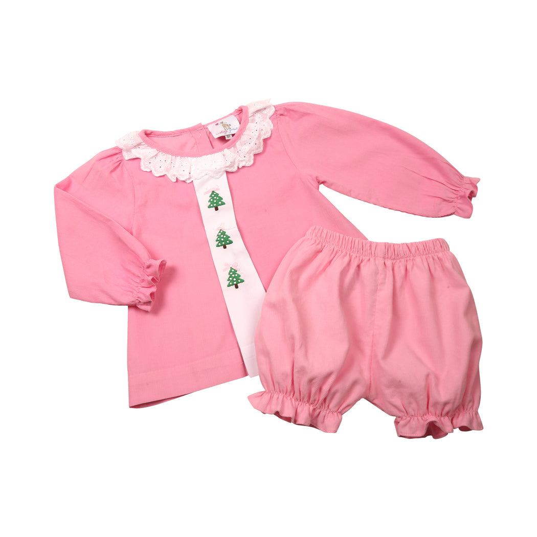 Pink Cord Embroidered Christmas Tree Bloomer Set