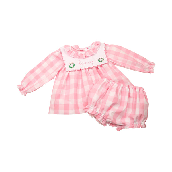 Pink Check Embroidered Christmas Wreath Diaper Set