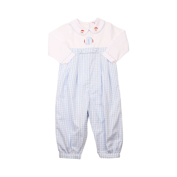 Blue Windowpane Embroidered Santa Long Romper