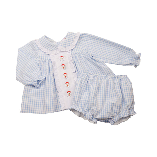 Blue Windowpane Embroidered Santa Diaper Set
