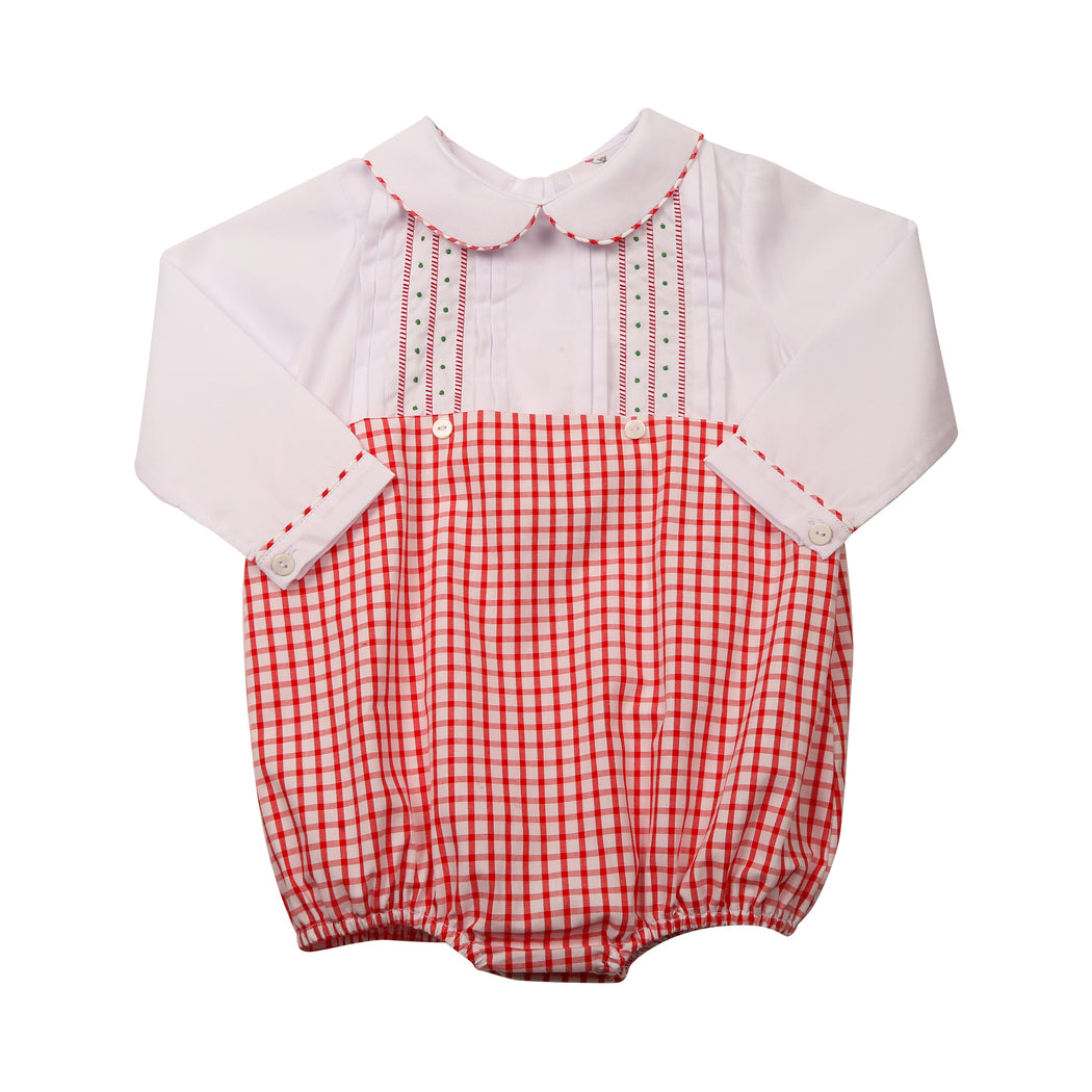 Red Windowpane Embroidered Bubble