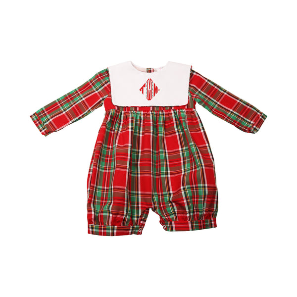 Holiday Plaid Square Collar Romper