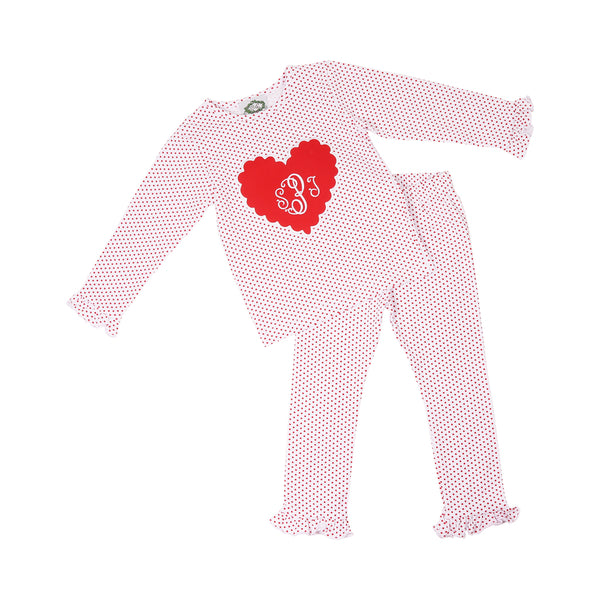 Red Dot Knit Applique Heart PJ Set