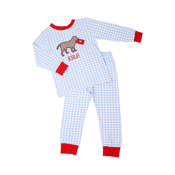 Blue Check Lab and Love Letter Pajama Set