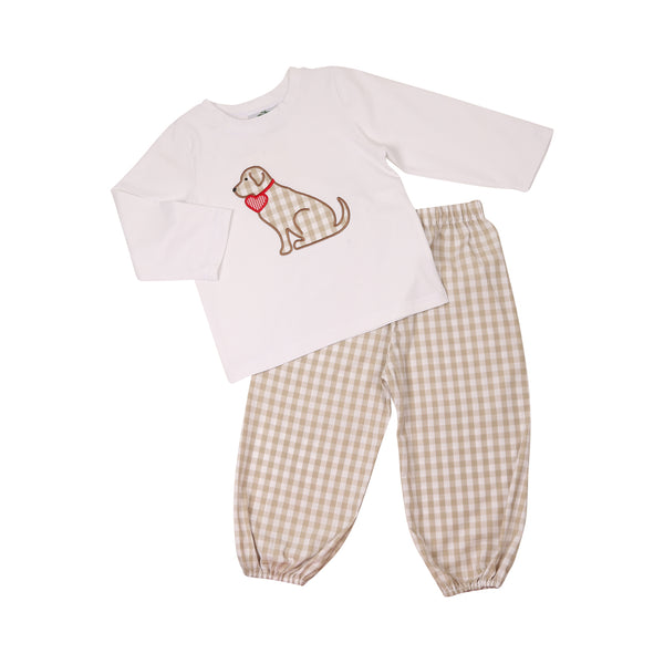 Khaki Check Love Lab Pant Set