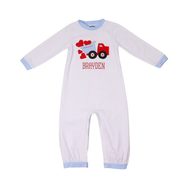 Blue Dot Heart Truck Long Romper