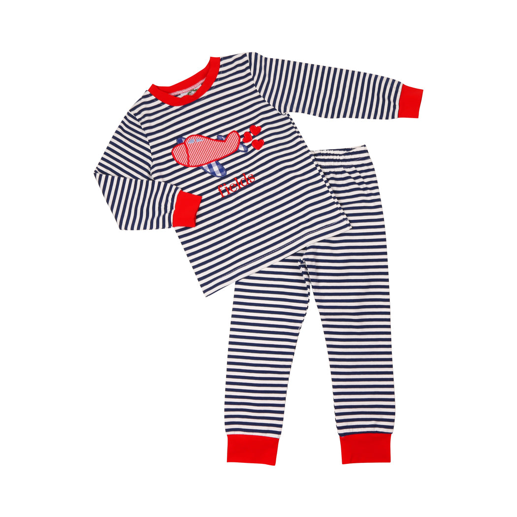 Navy Stripe Heart Airplane PJ Set