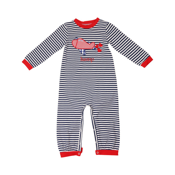 Navy Stripe Heart Airplane Long Romper