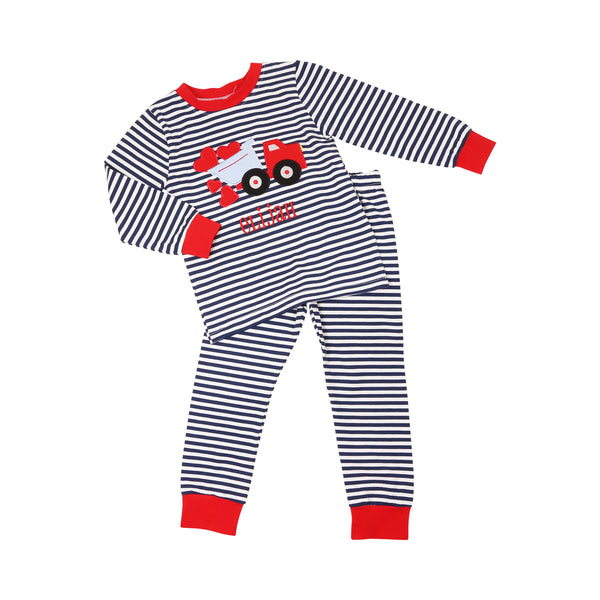 Navy Stripe Heart Truck PJ Set
