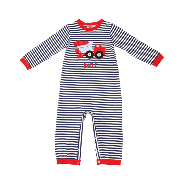 Navy Stripe Heart Truck Long Romper