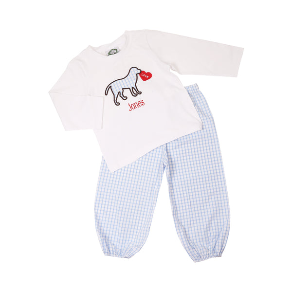 Blue Windowpane Lab Heart Pant Set