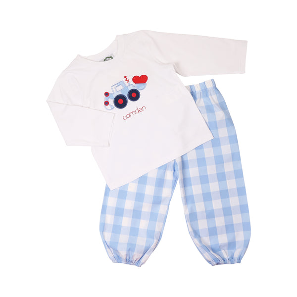 Blue Check Heart Tractor Pant Set