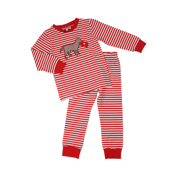 Red Stripe Lab and Love Letter Pajama Set